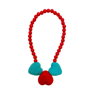 Blue+Red+ Blue Heart Necklace