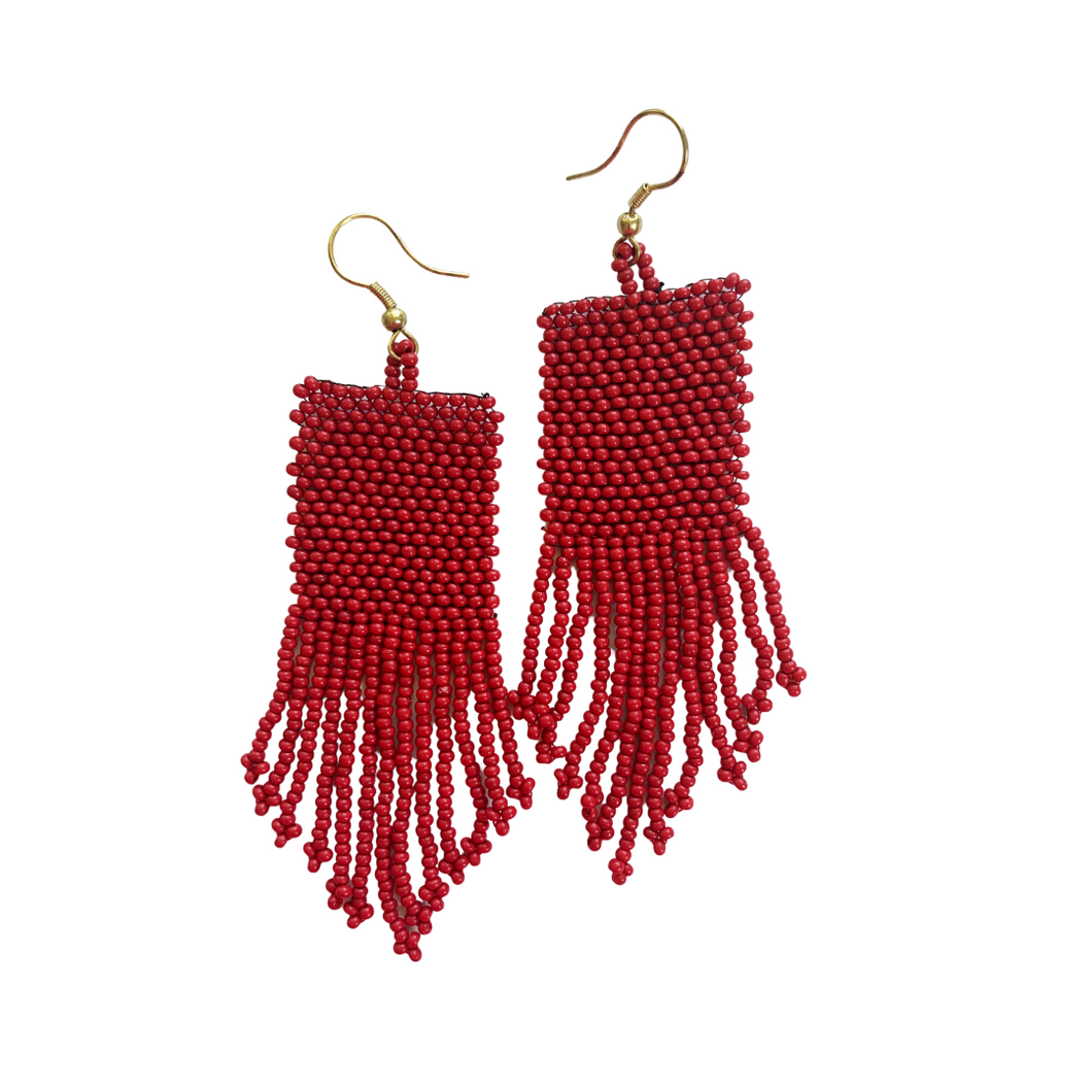 Red Seed Bead Earring