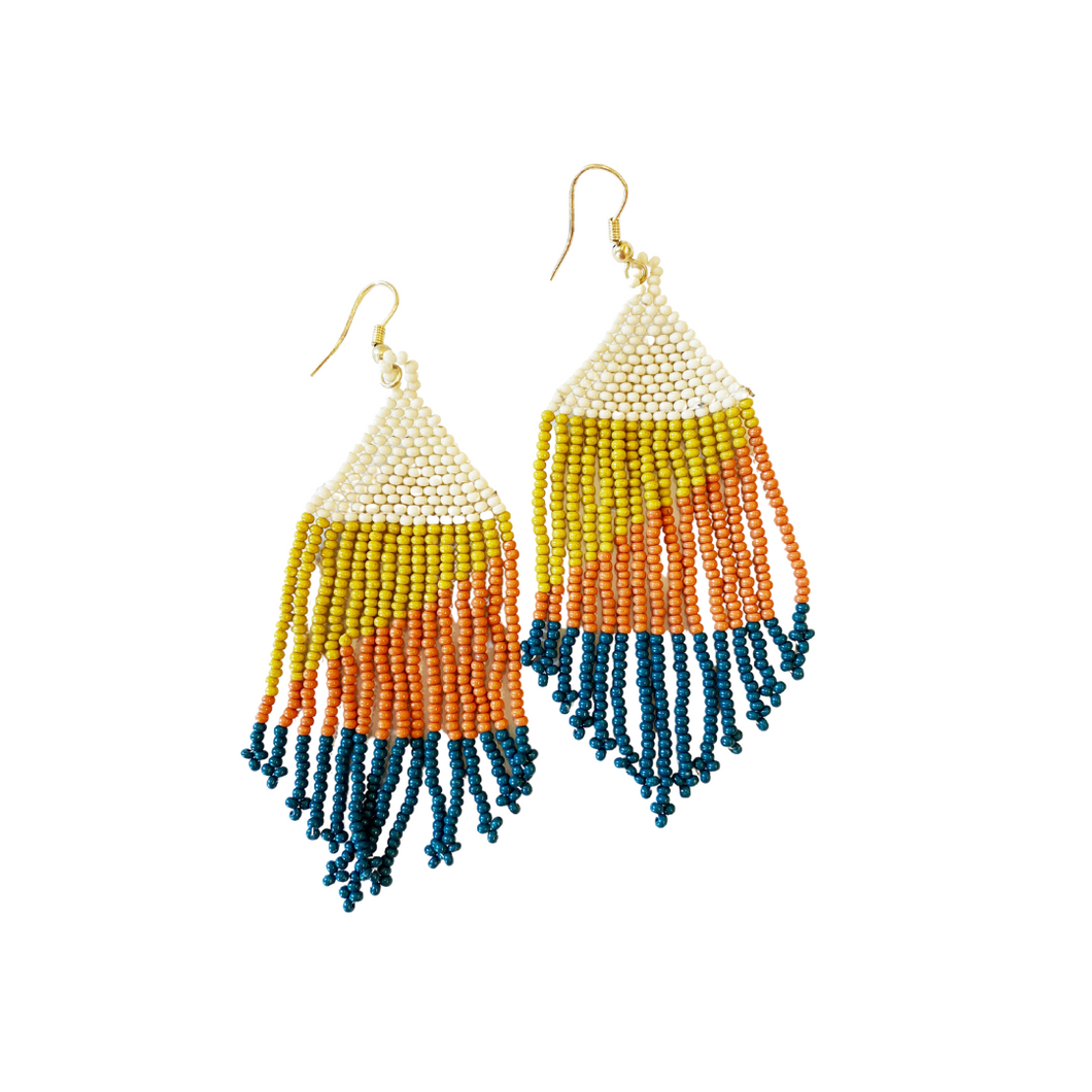 Peacock Citron Rust Ivory Ombre Seed Bead Earring