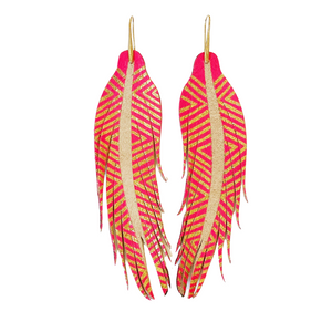 Electric Pink + Gold Aztec Feather Earrings