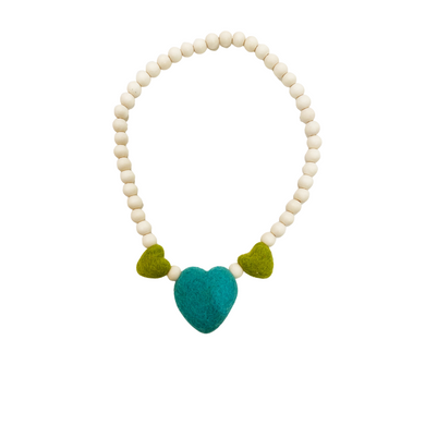 Green+Blue+Green Heart Necklace