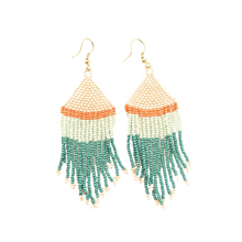 Teal Pink Mint with Coral Stripe Fringe Earrings 4""