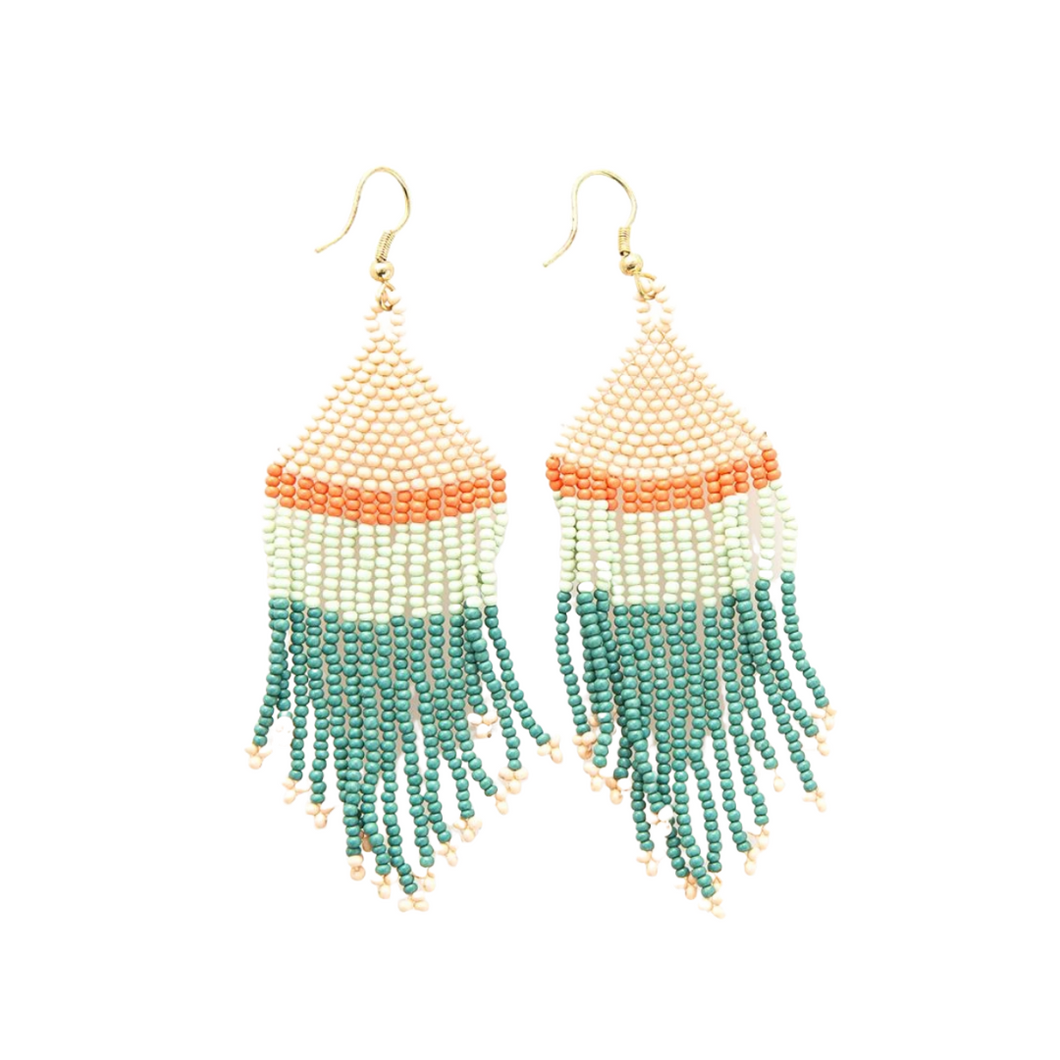Teal Pink Mint with Coral Stripe Fringe Earrings 4