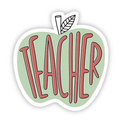 Teacher Green Apple Sticker