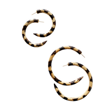 Leopard Mango Wood Hoops