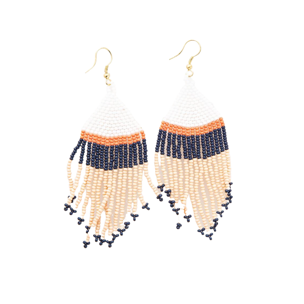 Pink White Navy with Coral Stripe Fringe Earrings 4