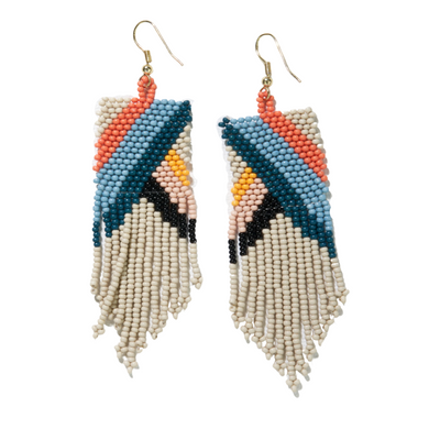 Pink Citron Peacock Diagonal Stripe On Triangle Earring