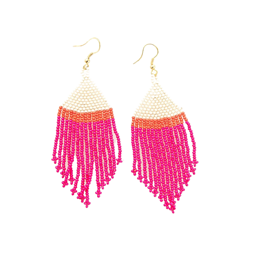 Hot Pink Ivory Coral Stripe Fringe Earrings 4