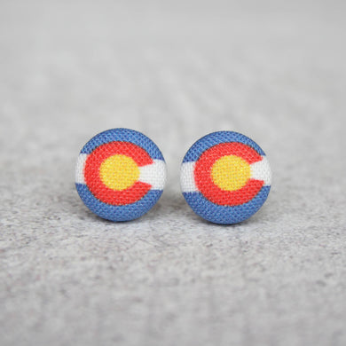 Colorado Fabric Button Earrings