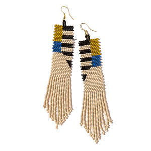 Citron Lapis With Black Stripe Seed Bead Earring