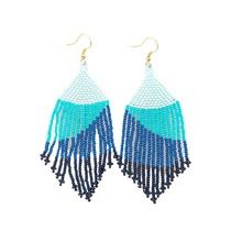 blue ombre fringe earrings 4""