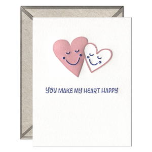 Make My Heart Happy Letterpress greeting card
