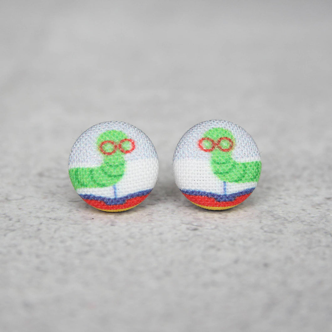 Bookworm Fabric Button Earrings