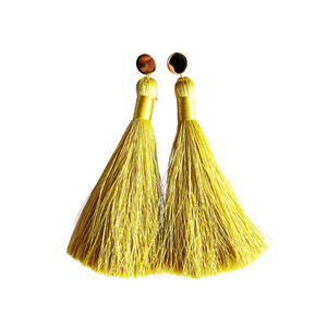 "Spicy Mustard 4"" Tassel Earrings"