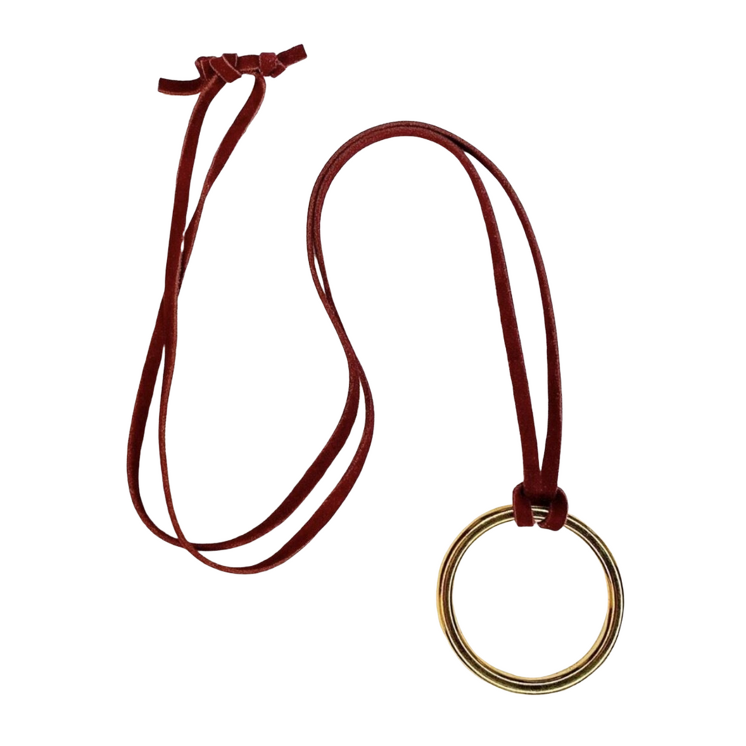 Maroon & Brass Tenfold Circle Necklace