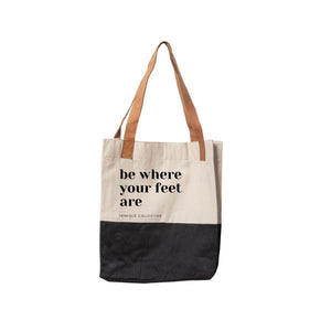 """Be Where Your Feet Are"" Color Block Tote"