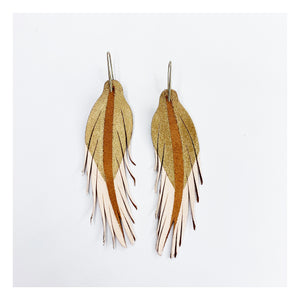 Leather Feather Earrings: Blush/Gold