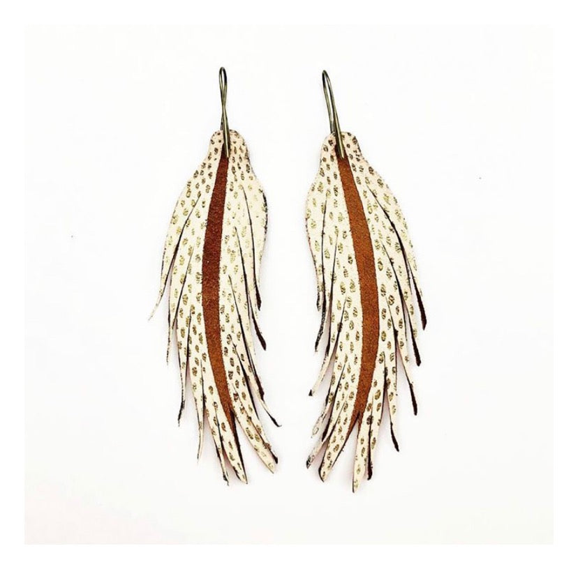 Leather Feather Earrings: White/Gold Dot