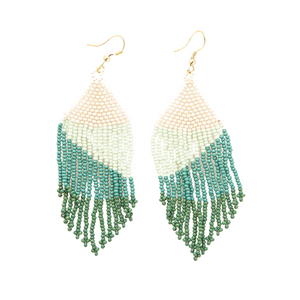 Green ombre fringe earrings 4""