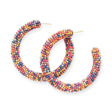 Multi-Color Confetti Seed Bead Hoops