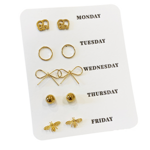 Gold Days of the Week Stud Set