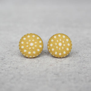 Mustard Dots Fabric Button Earrings