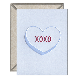 XOXO Heart Letterpress greeting card
