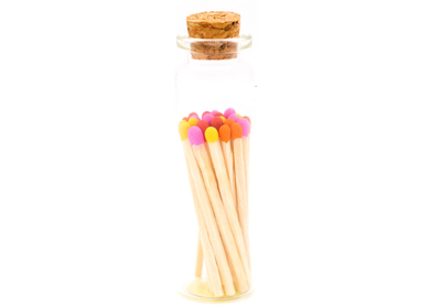 Sunset Colored Tips Decorative Matches In Jar with striker