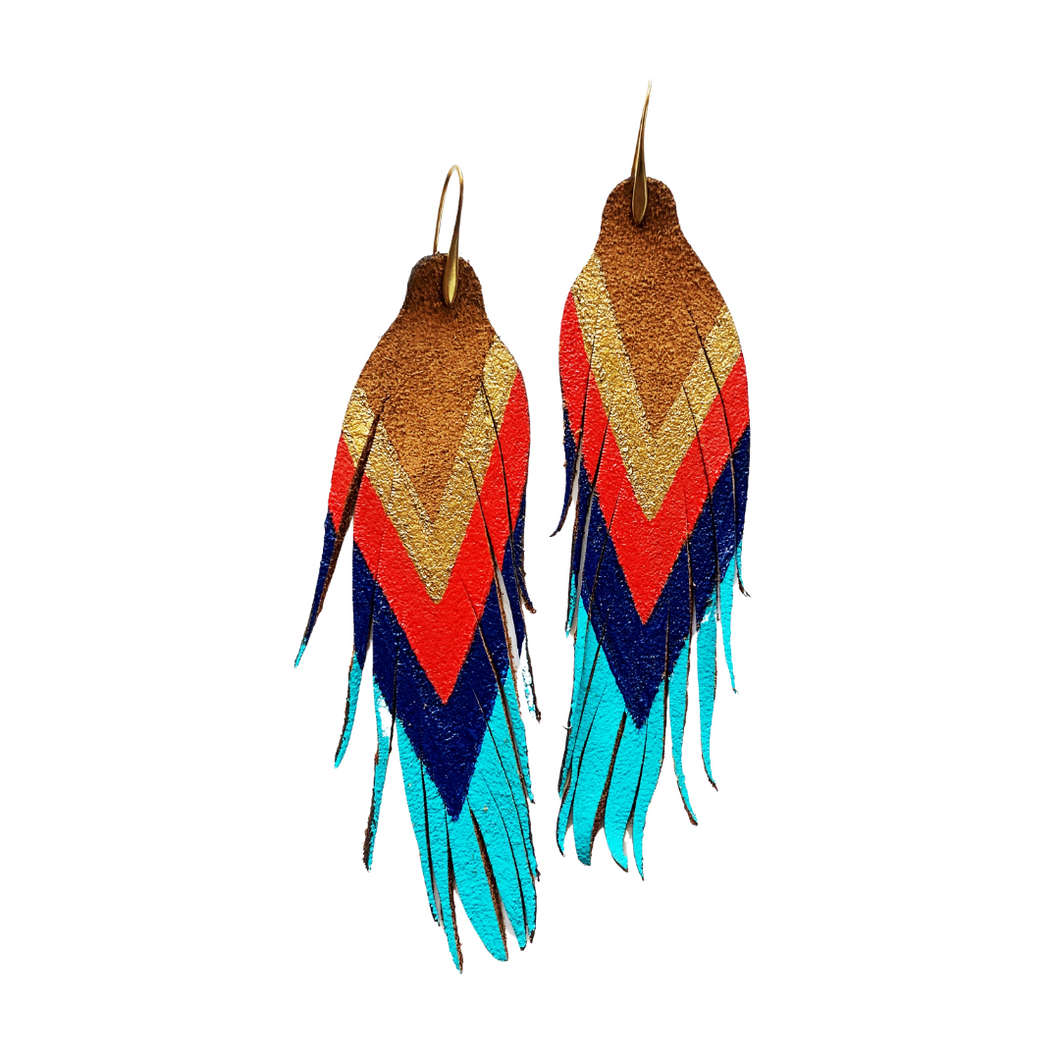 Gold/Red/Cobalt/ Turquoise Feathers