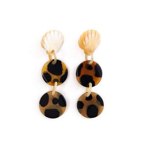Tortoise Seashell Horn Earrings