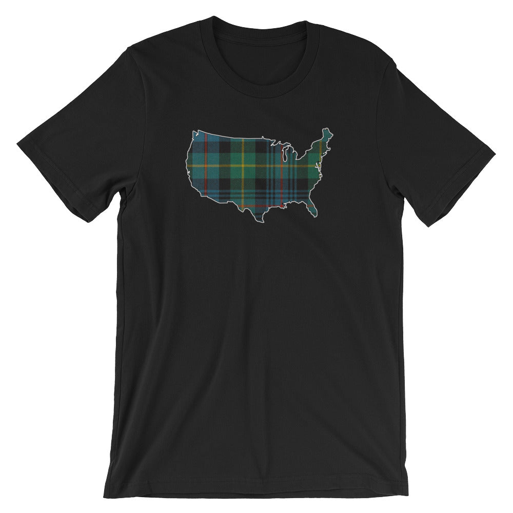 Scottish Tartan United States Map Short-Sleeve Unisex T-Shirt