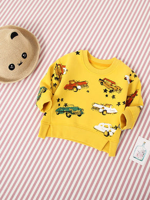 Winter Cartoon Print Fleece- lined Sweater Pullover Baby Big Boys Girls Kids Jumper W Crew Collar Alaska/Car/Magnifying Glass Pattern