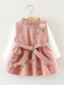2PCS Spanish Style Baby Dress Set Flower Embroidery Sleeveless Bow Dress +White T-shirt Top