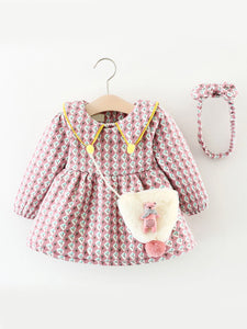 Flower Print Fleece-lined Thick Infant Girl Warm Winter Dress with Bear Trimmed Mini Bag and Bow Headband