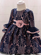 Floral Pierced Lace Fancy Baby Frock First Birthday Dress Mandarin Sleeve
