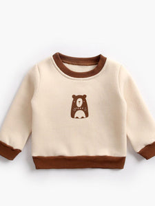 Cartoon Bear Color Blocking Fleece-lined Jumper Baby Toddler Kids Sweatshirt Wholesale Sweaters & Jumpers