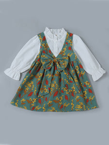 Ruffled Collar Floral One-Piece Dress Baby Toddler Girl Spring Autumn Casual Dress