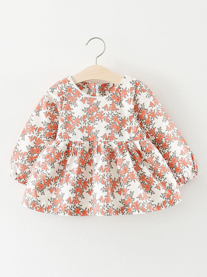 Floral Infant Girl Casual Shift Dress Long Sleeve for Spring Autumn