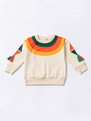 Rainbow Color Tassel Baby Little Girl Jumper Sweatshirt