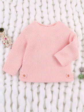 Stylish Infant Solid Color Knitted Sweater