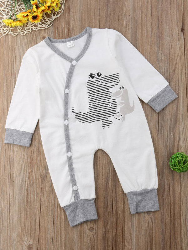 Buttoned Dinosaur Baby Sleepsuit Overalls for Spring