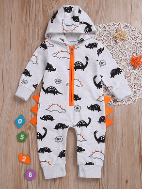 Adorable Infant Boys Dinosaur Hooded Zip Jumpsuit Overalls