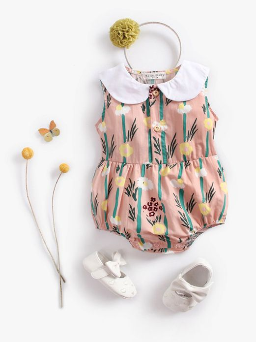 Summer Newborn Infant Girl Peter Pan Collar Floral Sleeveless Bodysuit Baby Cotton Romper
