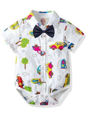 Summer Cute Cartoon Car Short-sleeved Turn Down Collar Baby Romper with Bow Tie