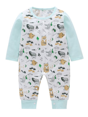 Spring Cartoon Fox Print Long-sleeved Baby Jumpsuit Overalls