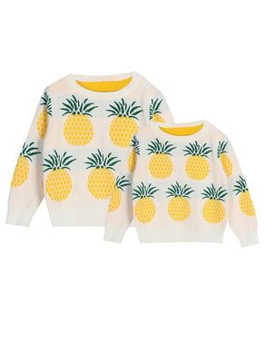 Mum and Me Pineapple Knitted Sweater Matching Sets