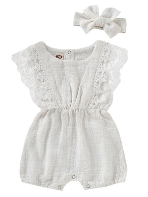 2-Piece Baby Lace-trimmed Solid Color Romper Matching Headband