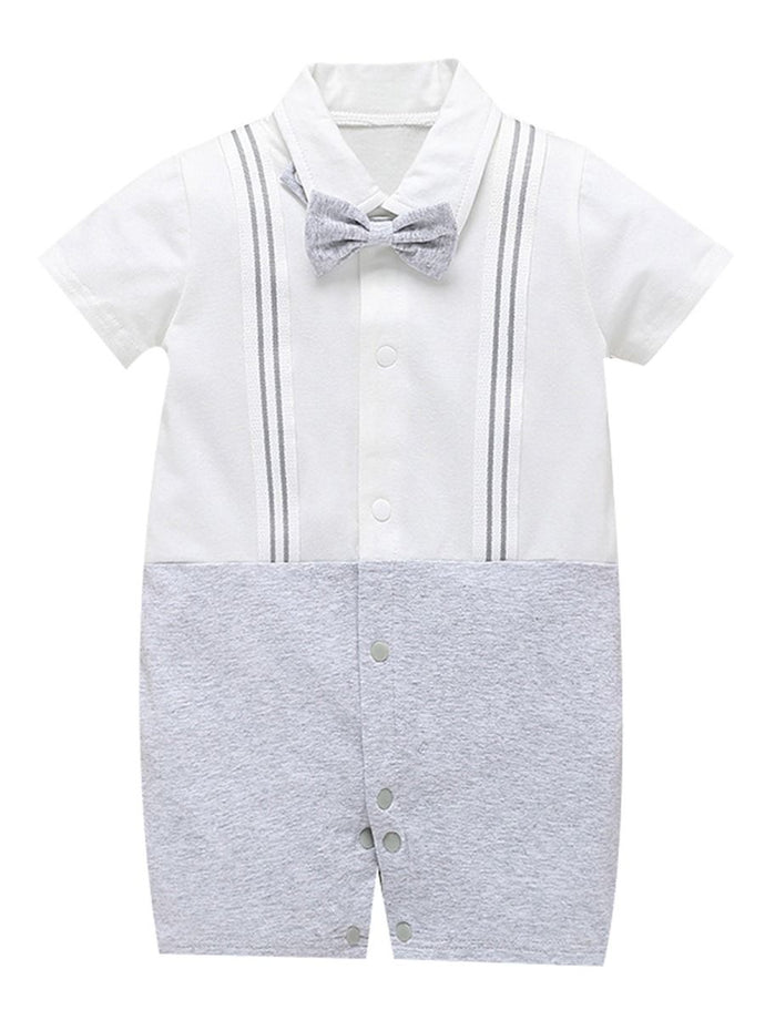 Summer Cute Turn Down Collar Baby Jumpsuit Matching Bowtie