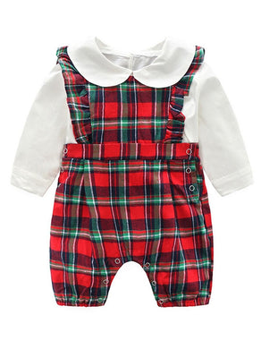 2-Piece Spring Baby Clothes Outfit White Peter Pan Collar Blouse Matching Plaid Ruffle Jumpsuit