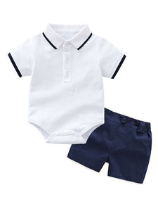 2-Piece Summer British Sytle Baby Clothing Outfit Turn-down Collar Bodysuit Matching Shorts